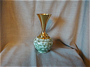Brass And Delft Pottery Vase
