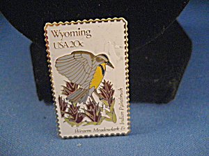 Wyoming Western Meadowlark And Indian Paintbrush Stamp Pin