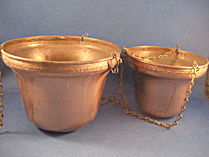 Two Copper Hanging Planters