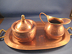 Hammered Copper Sugar And Creamer With Tray