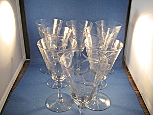 Depression Etched Water Glasses