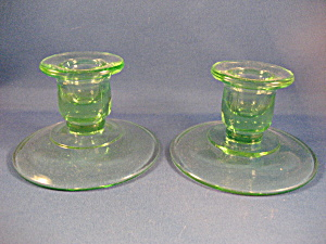 Depression Green Glass Candle Holders