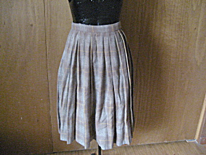 Tan Pleated Wool Skirt