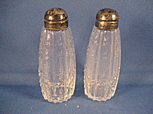 Silver Topped Cut Glass Salt And Pepper Shakers