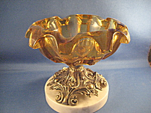 Pedestal Amber Glass Ash Tray