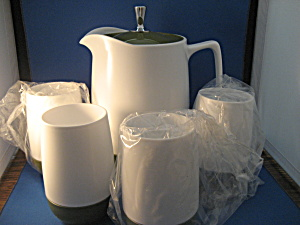 Thermos Green And White Pitcher And Four Glasses