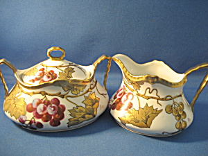 Hand Painted And Signed Limoges Sugar And Creamer
