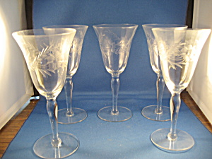 Depression Wine Or Water Stem Glasses