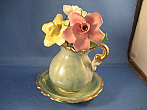 Royal Crown Regal Bowl And Pitcher With Porcelain Roses