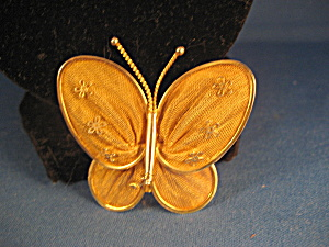 Gold Mesh Butterfly Pin