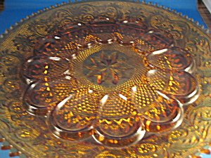 Amber Glass Tiara Devil Egg Plate