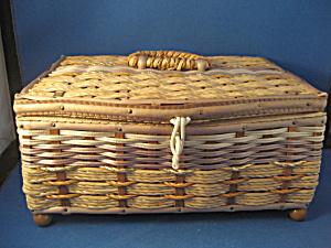 Vintage Tan Sewing Basket (Image1)