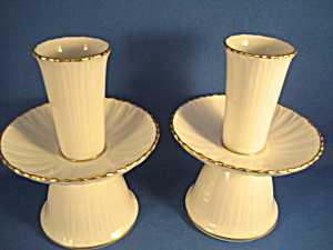Noritake Gold Trim White Candle Holders