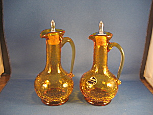 Crackle Glass Cruets From Kanawha