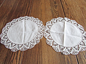 Two Hand Crocheted Cream Doilies