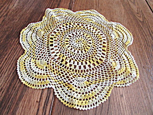 Yellow Hand Crocheted Doily