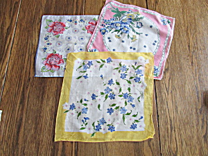 Three Vintage Handkerchiefs