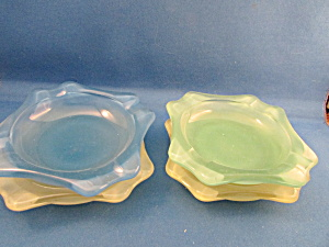 Four Colored Glass Ash Trays