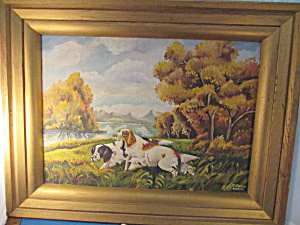 Signed Oil On Canvas Of English Setters