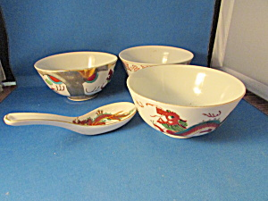 Three Oriental Bowls With Spoon