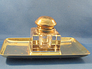 Brass Top Ink Well With Brass Tray