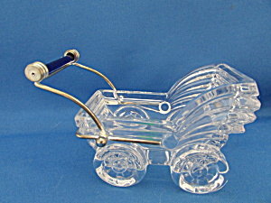 Glass Baby Buggy With Cobalt Blue Glass Handle