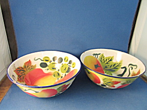 Two Colorful Enamel Bowls