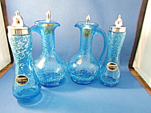 Kanawha Crackle Glass Cruets And Salt And Pepper Shakers