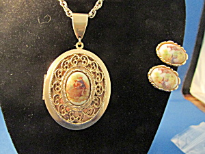 Fragonard Art Porcelain Inset Locket And Matching Earrings