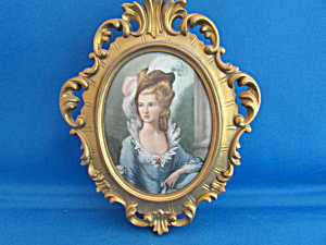 Silk Portrait Of 17th Century Lady Music Box