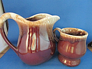 Mccoy Brown Drip Glazed Pitcher And Cup
