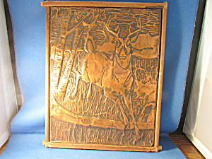 Folk Art Copper Deer Picture