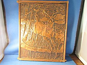 Folk Art Copper Deer Picture (Image1)