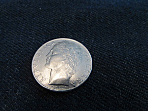 Vintage Italian 1.00 Lire Coin From 1957