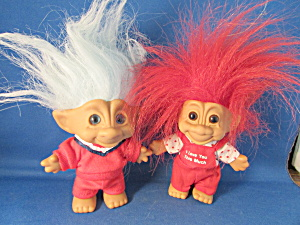 Two Vintage Troll Dolls