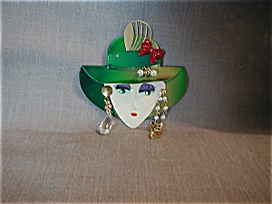 Lady In Green Hat Pin (Image1)