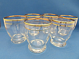 Six Anchor Hocking Gold Trimmed Liquor Glasses