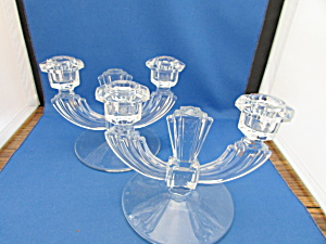 Glass Art Deco Candle Holders