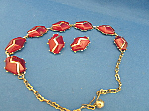 Vintage Red And Gold Necklace And Clip On Earrings