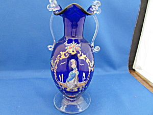 Hand Blown Cobalt Blue Ruffle Lip Vase