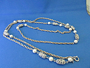 Long Sarah Coventry Pearl And Silver Necklace