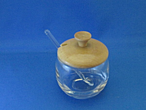 Clear Glass Salt Cellar With Wooden Lid And Glass Spoon
