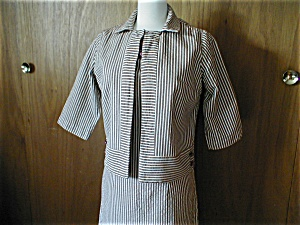 Cay Artley Brown And White Striped Suit