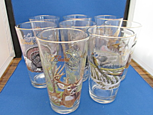 Eight Libbey Animal Budweiser Glasses
