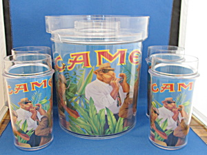 Joe Camel Ice Bucket And Four Glasses