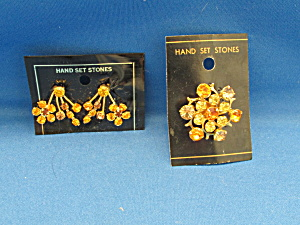 Austrian Stone Brooch And Matching Earrings