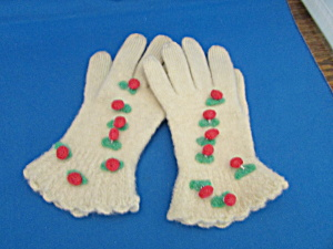 White Felted Child's Gloves