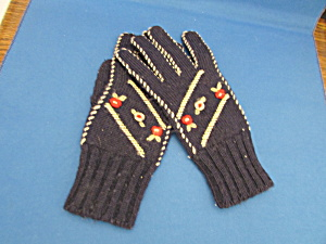 Child's Blue Knitted Gloves