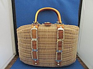 Wicker Purse With Plastic And Chains