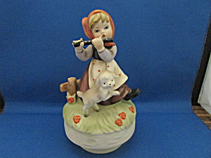 Hummel Like Music Box Of Girl And Lamb